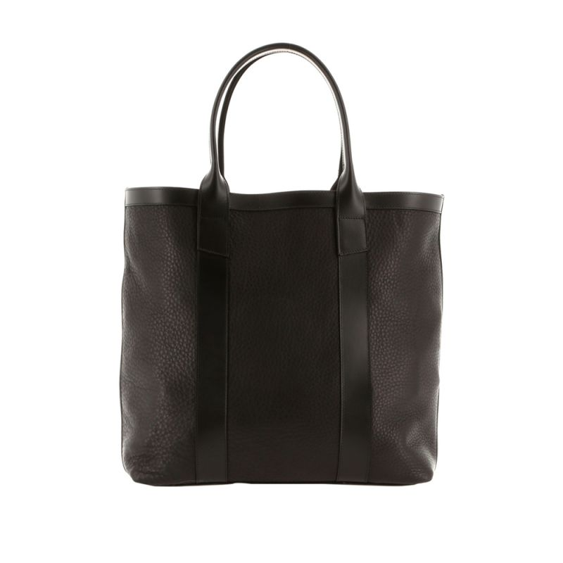 Tall Tote - Black - Soft Pebbled Leather