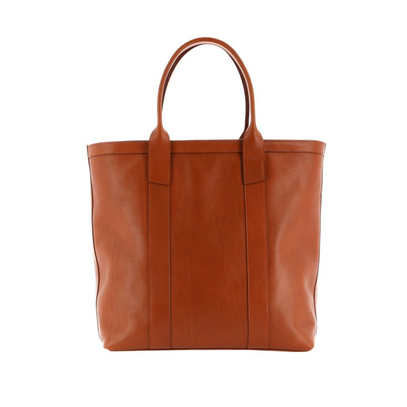 Tall Tote - Cognac/Chocolate Interior - Tumbled Leather