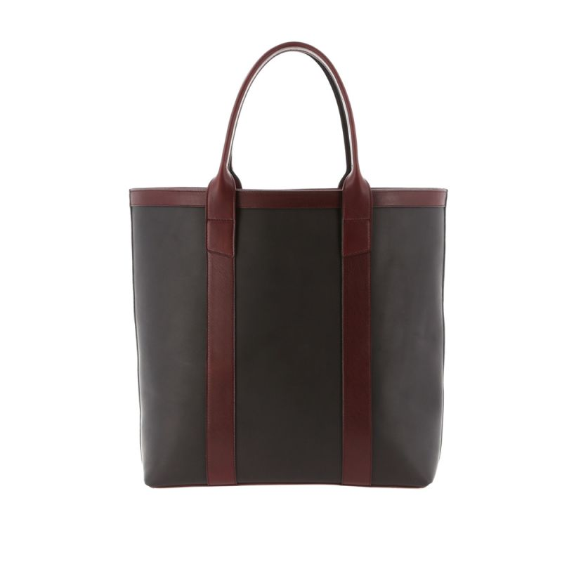 Tall Tote - Matte Black/Oxblood - Smooth Tumbled Leather