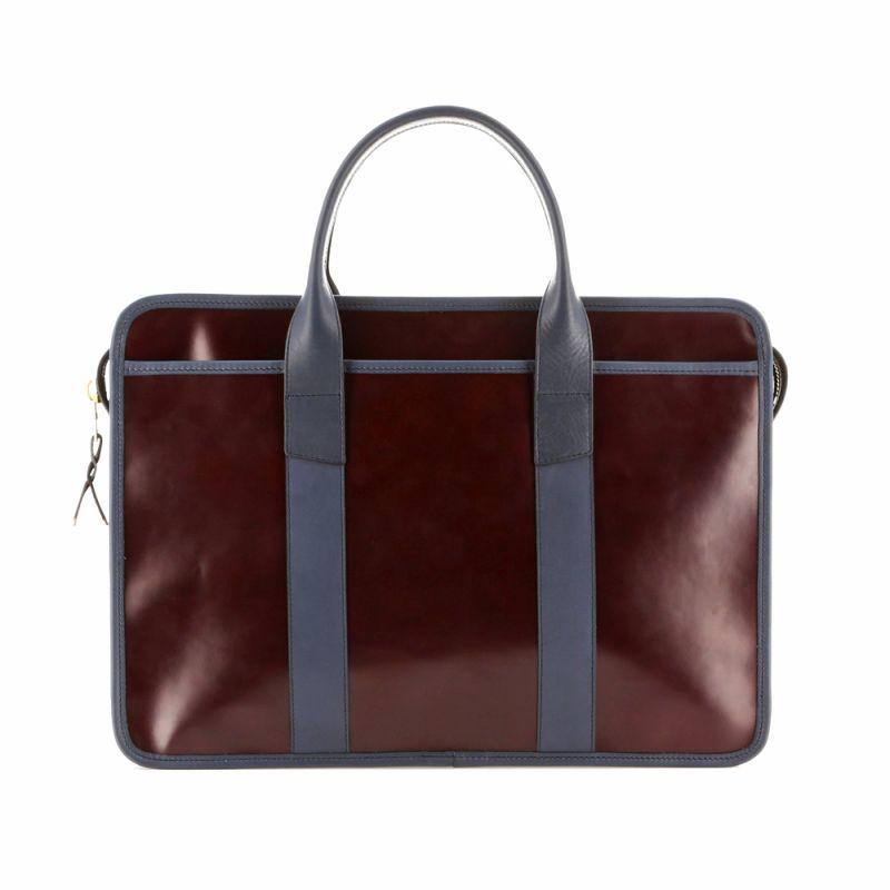 Bound Edge Zip-Top - Burgundy/Navy - Glossy Belting Leather