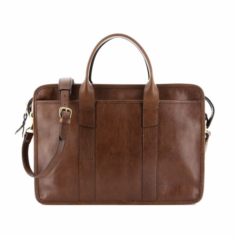 Bound Edge Zip-Top - Coffee - Tumbled Grain Leather
