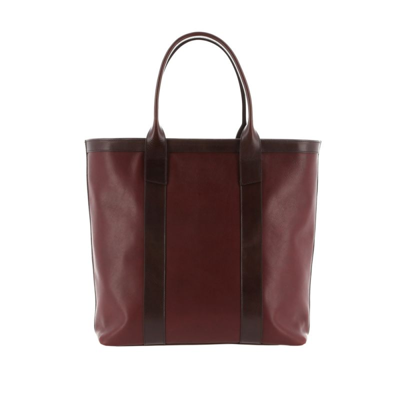 Tall Tote - Oxblood/Dark Brown - Smooth Tumbled Leather