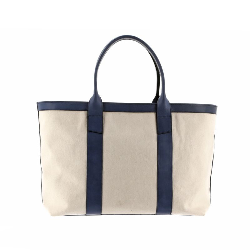 Large Working Tote - Ivory/Blue - Heavy Weight Canvas