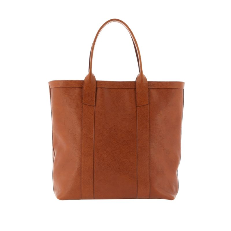 Tall Tote - Cognac - Pebbled Grain Leather