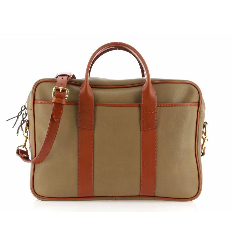 Commuter Briefcase - Moss/Cognac - Tumbled Grain Leather
