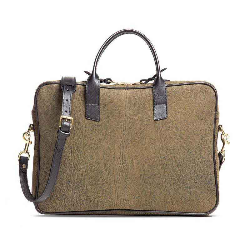 Computer Briefcase - Olive - Nubuck Goatskin