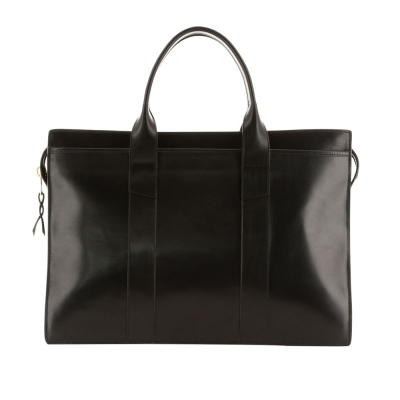 Double Zip-Top Briefcase - Black - Glossy Harness Leather