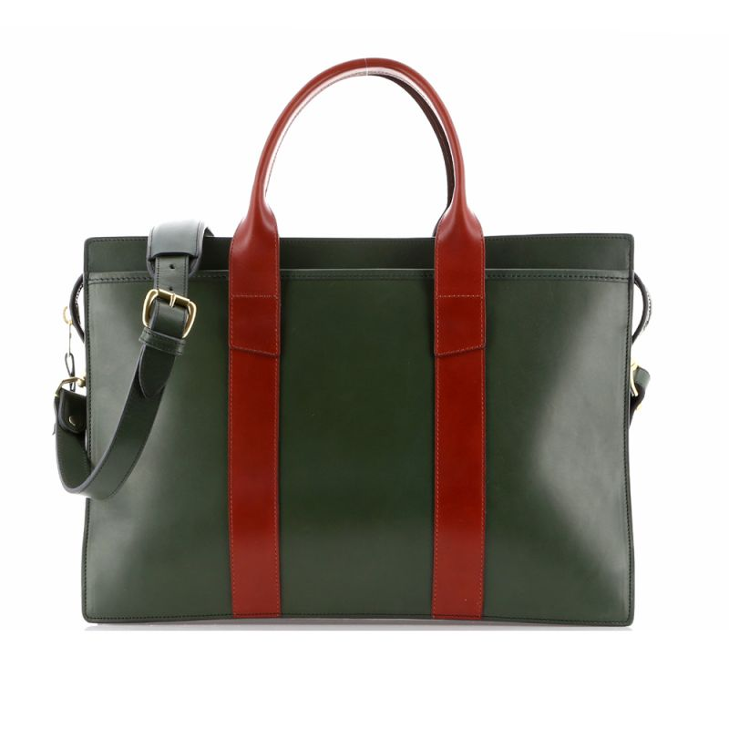 Double Zip-Top - Green/Chestnut - Harness Belting Leather
