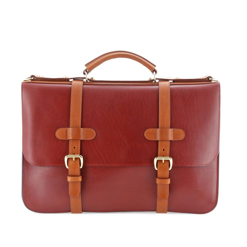 English Briefcase - Syrah Red/Cognac - Natural Tumbled Leather