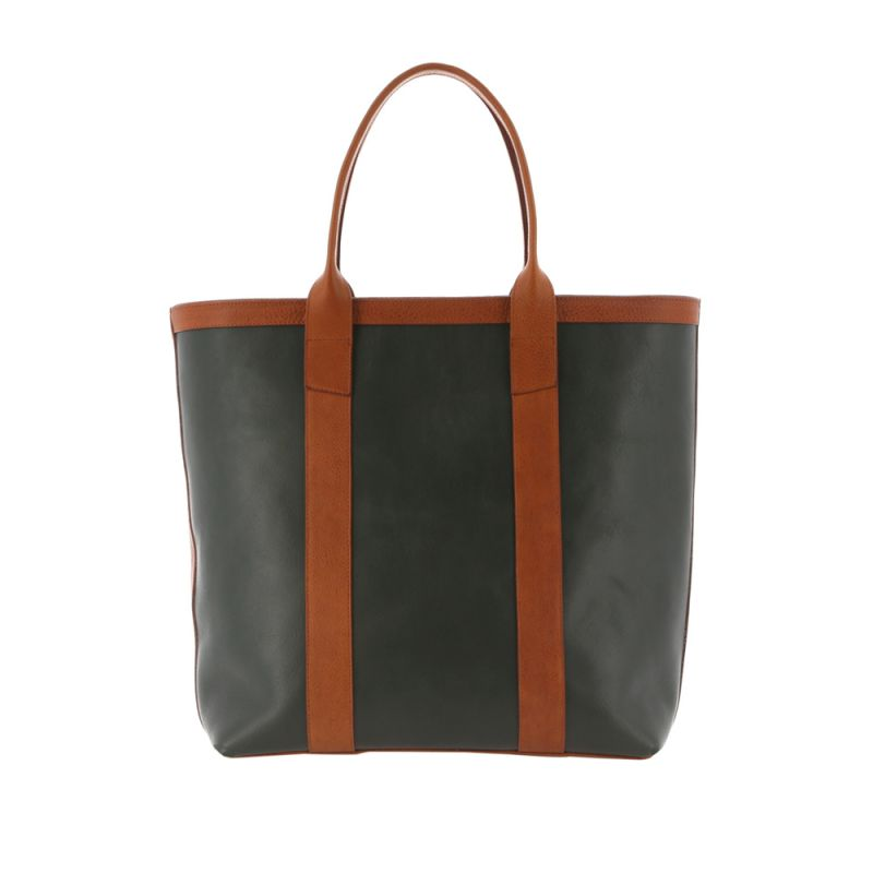 Tall Tote - Green/Cognac - Tumbled Leather