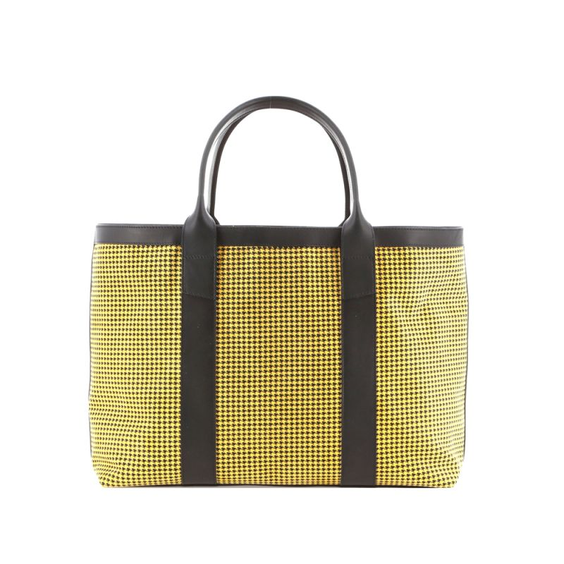 Large Working Tote - Yellow/Black - Houndstooth Microsuede