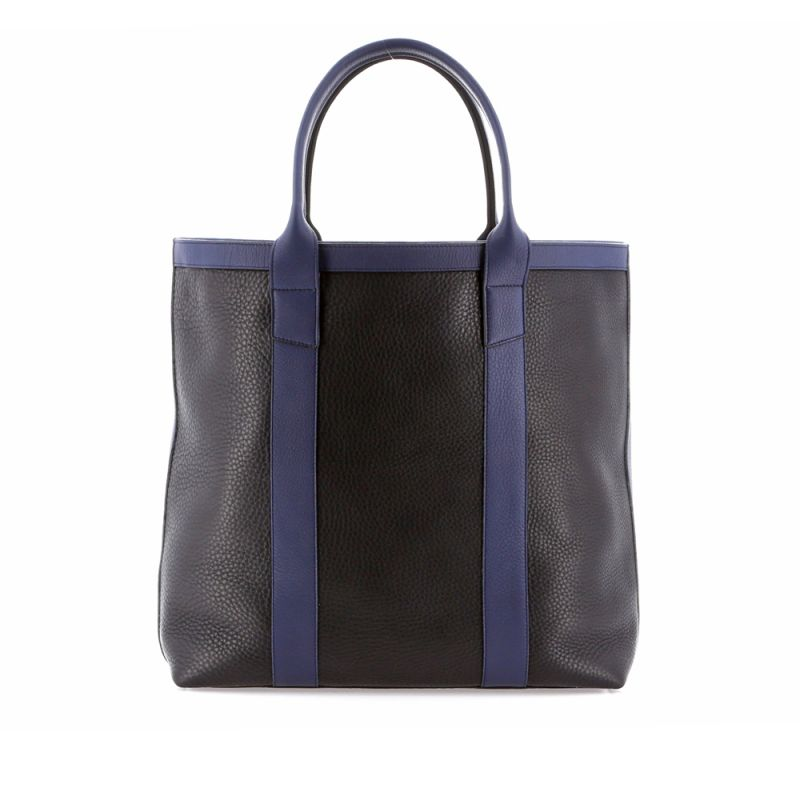 Tall Tote - Black/Navy - Tumbled Grain Leather