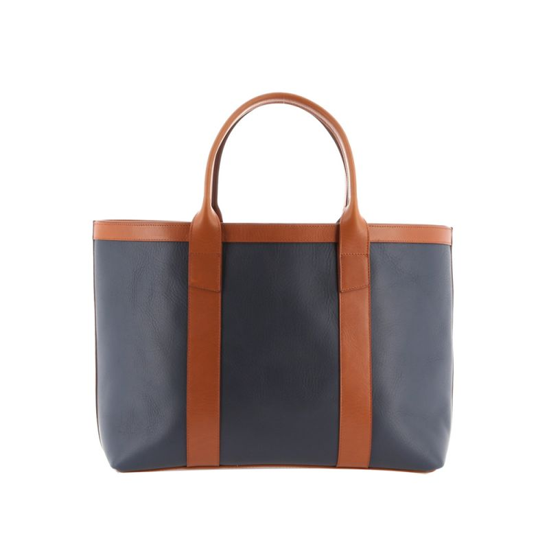 Large Working Tote - Navy/Cognac - Tumbled Leather