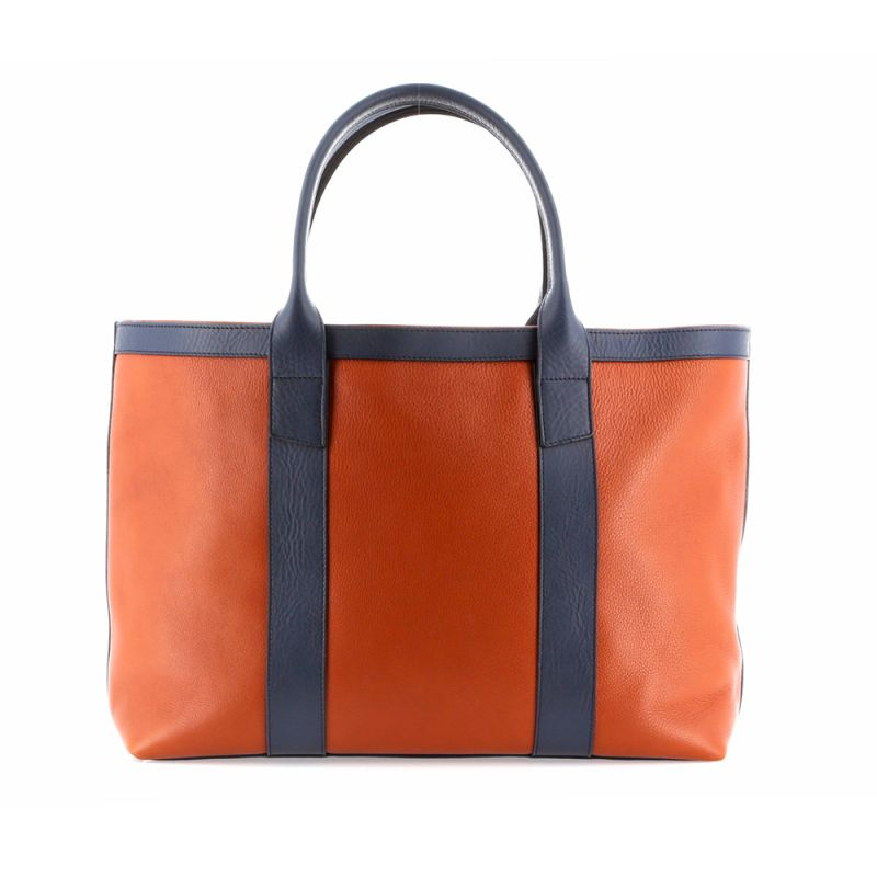 Large Working Tote - Pumpkin/Navy - Tumbled Leather