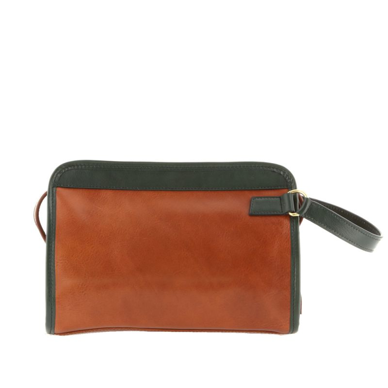 Large Travel Kit - Cognac/Green - Smooth Tumbled Leather