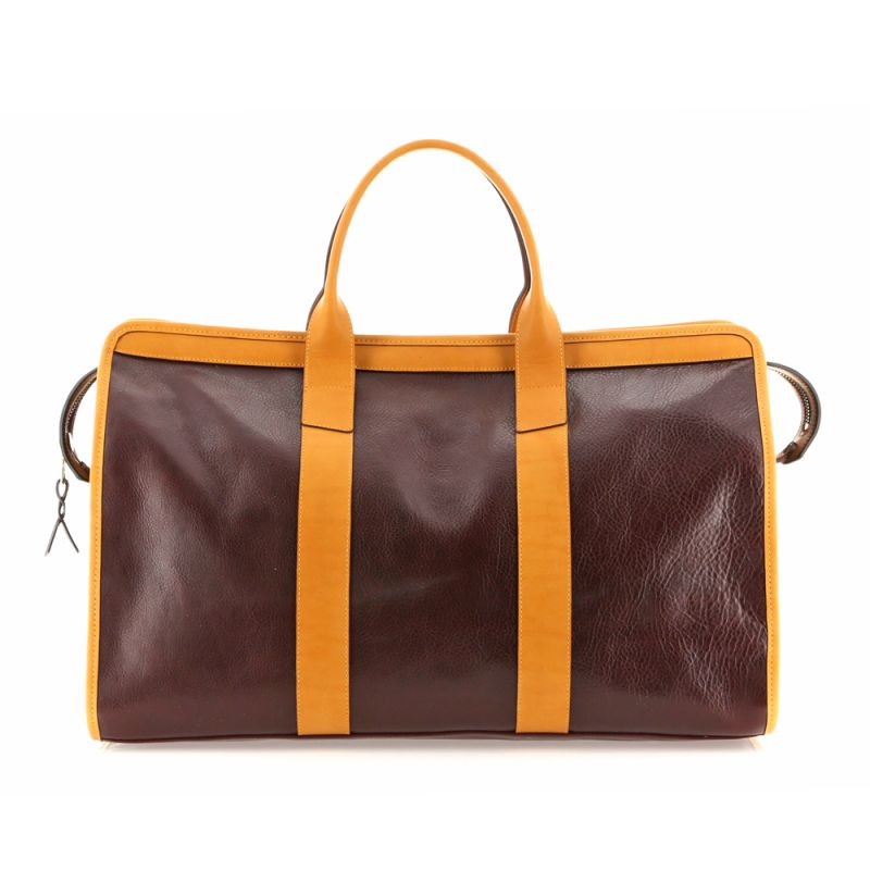 Signature Travel Duffle - Dark Burgundy/Ochre - Tumbled Leather