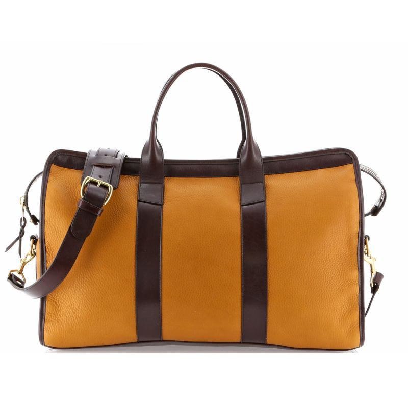 Signature Travel Duffle - Dark Ochre/Chocolate - Tumbled Leather