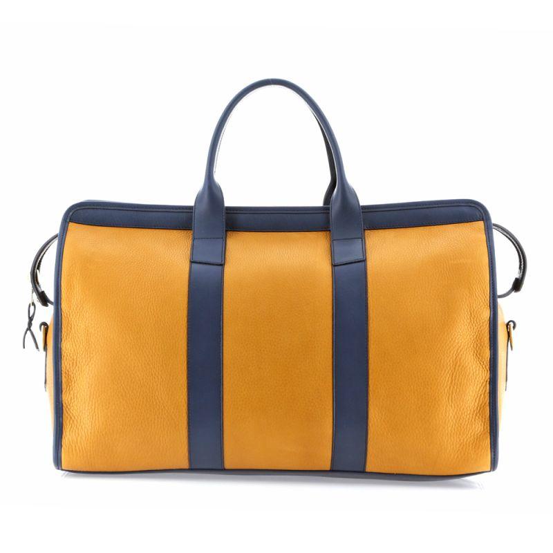 Signature Travel Duffle - Dark Ochre/Navy - Tumbled Grain Leather