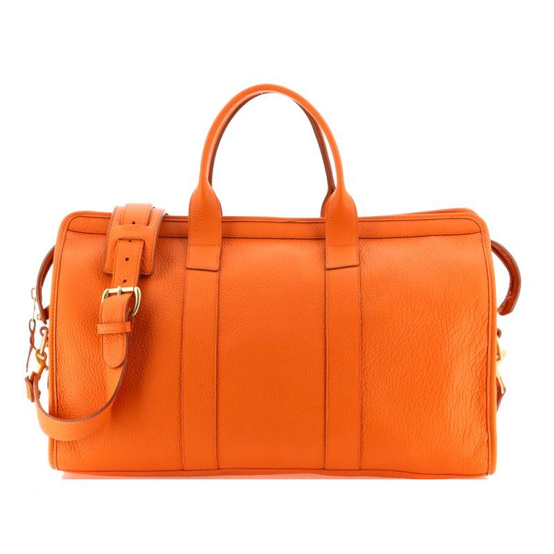 Signature Travel Duffle - Orange - Tumbled Grain Leather