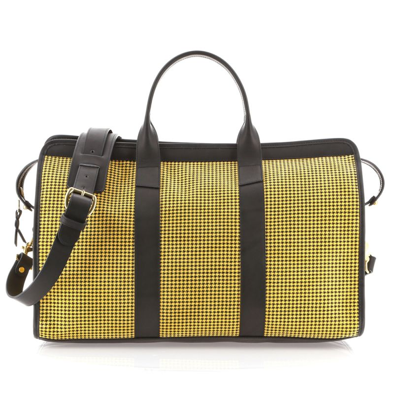 Signature Travel Duffle - Yellow/Black - Houndstooth Microsuede