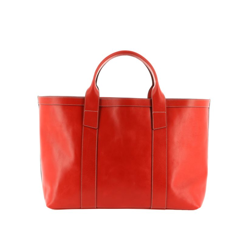 Large Working Tote - Candy Apple Red - Smooth Tumbled Leather