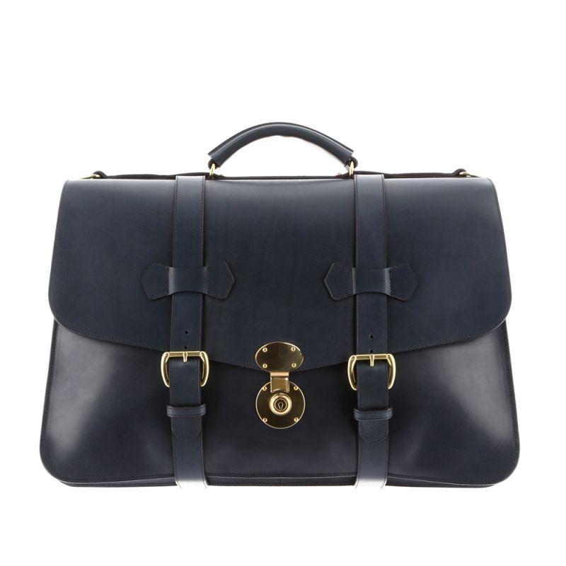 Lawyer's Briefcase with English Lock - Navy - Harness Belting Leather