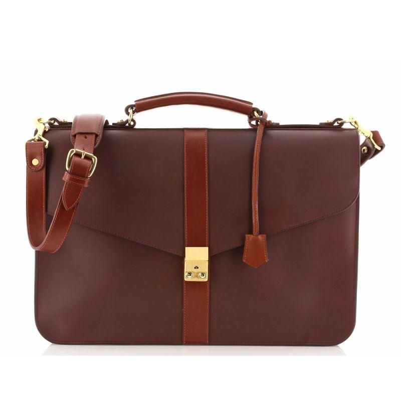 Lock Briefcase - Matte Chocolate/Chestnut - Harness Belting Leather