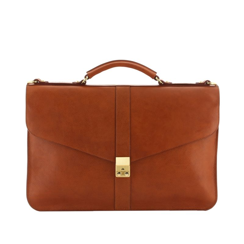 Lock Briefcase - Cognac - Pebbled Grain Leather