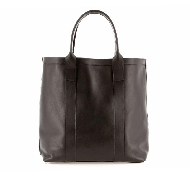 Tall Tote - Black - Tumbled Leather