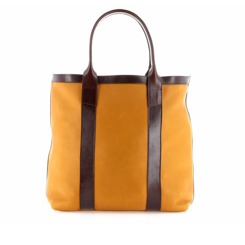 Tall Tote - Dark Ochre/Chocolate - Tumbled Grain Leather