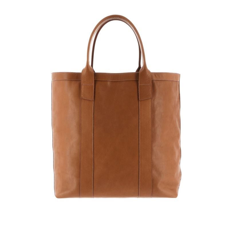 Tall Tote - Light Caramel - Smooth Tumbled Leather