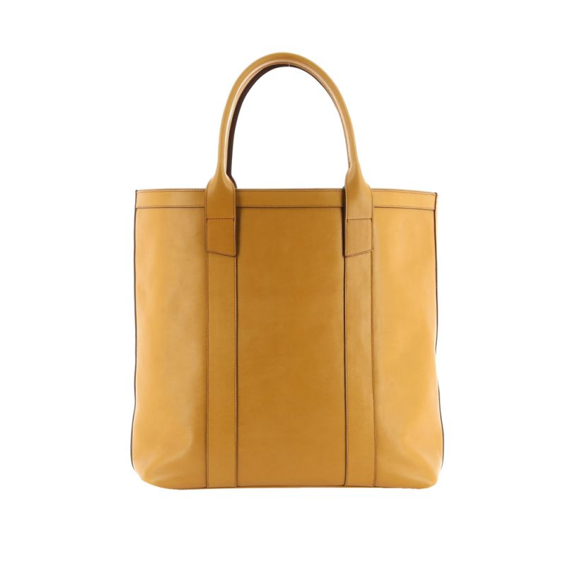 Tall Tote - Dark Yellow Ochre - Smooth Tumbled Leather