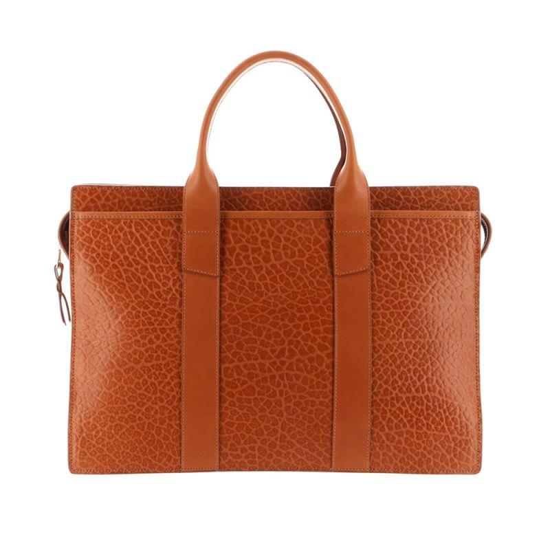 Double Zip-Top Briefcase - Cognac - Shrunken Grain Leather
