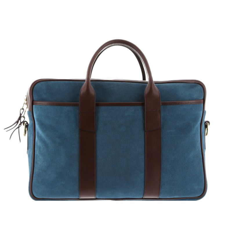 Commuter Briefcase - Blue Grey/Chocolate - Suede