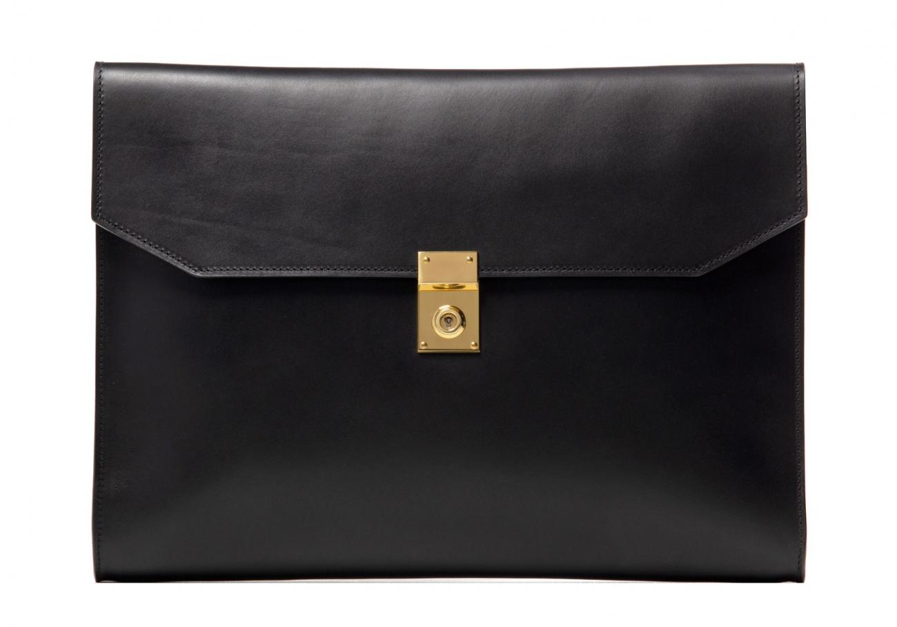 Wrap Around Leather Lock Portfolio Black3 1