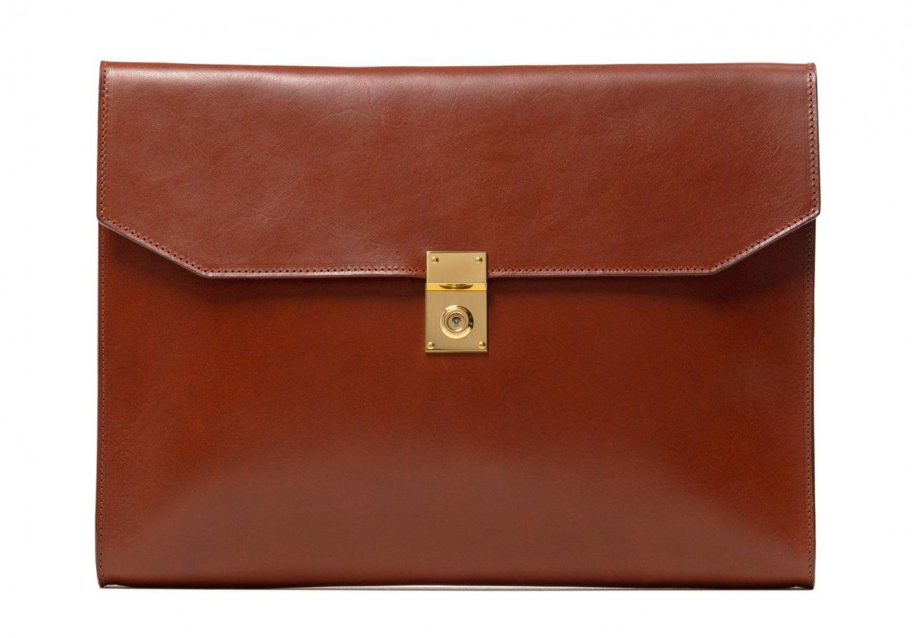 Wrap Around Leather Lock Portfolio Chestnut3 2