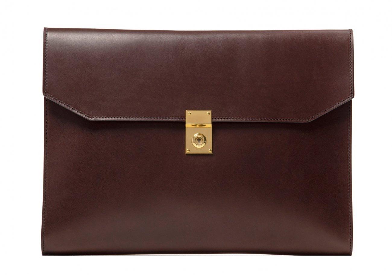 Wrap Around Leather Lock Portfolio Chocolate2 1