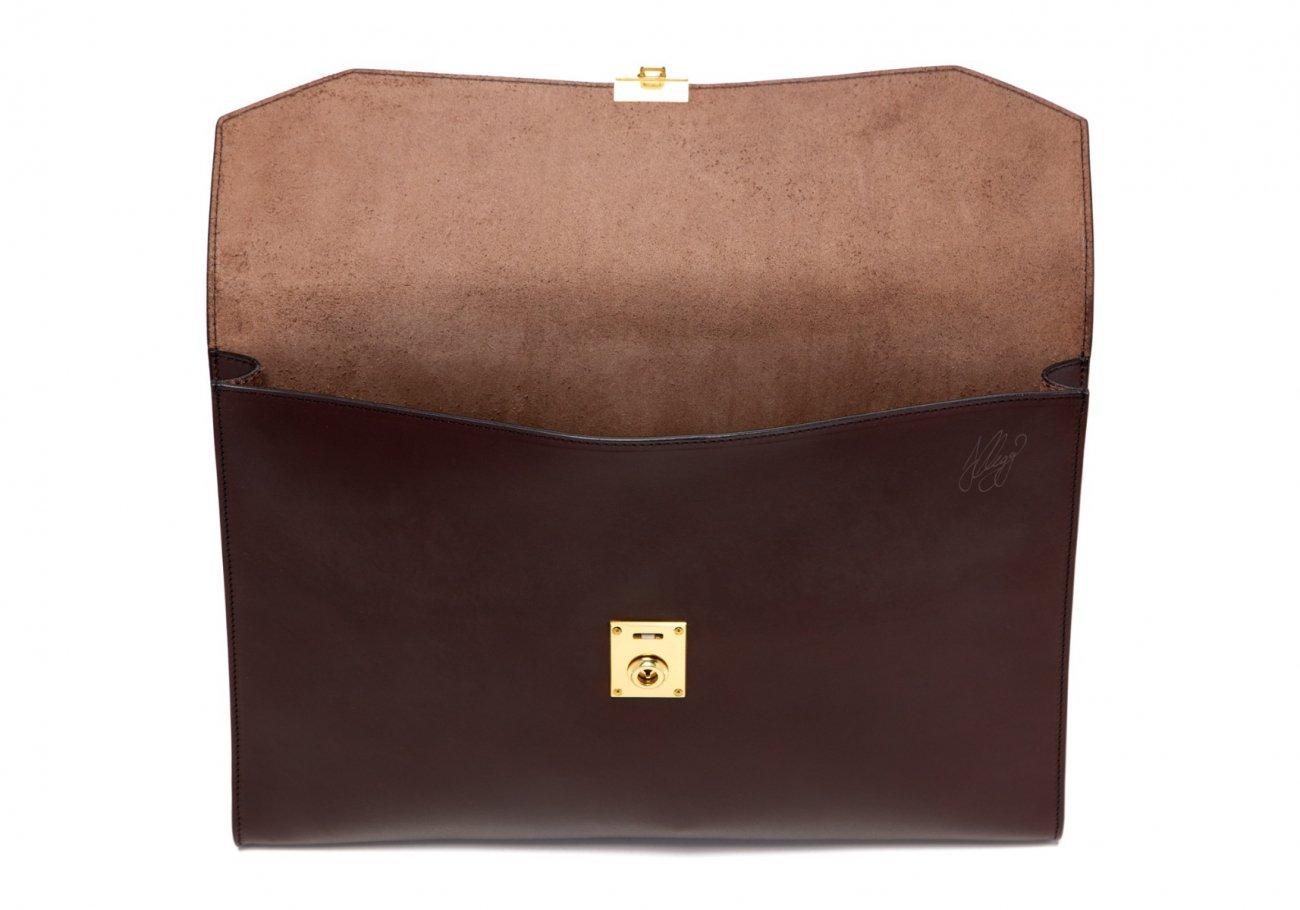 Wrap Around Leather Lock Portfolio Chocolate3 1