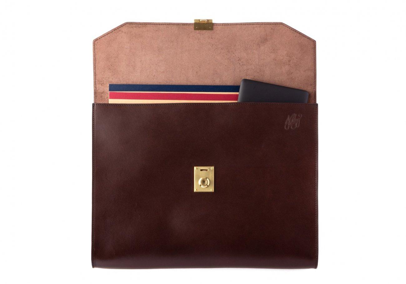 Wrap Around Leather Lock Portfolio Chocolate4 1