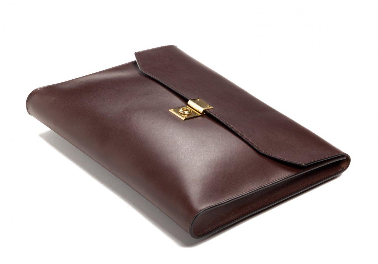 Wrap Around Leather Lock Portfolio Chocolate5 1