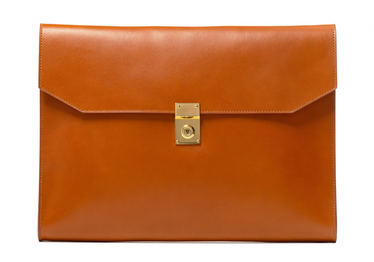 Wrap Around Leather Lock Portfolio Cognac3 2