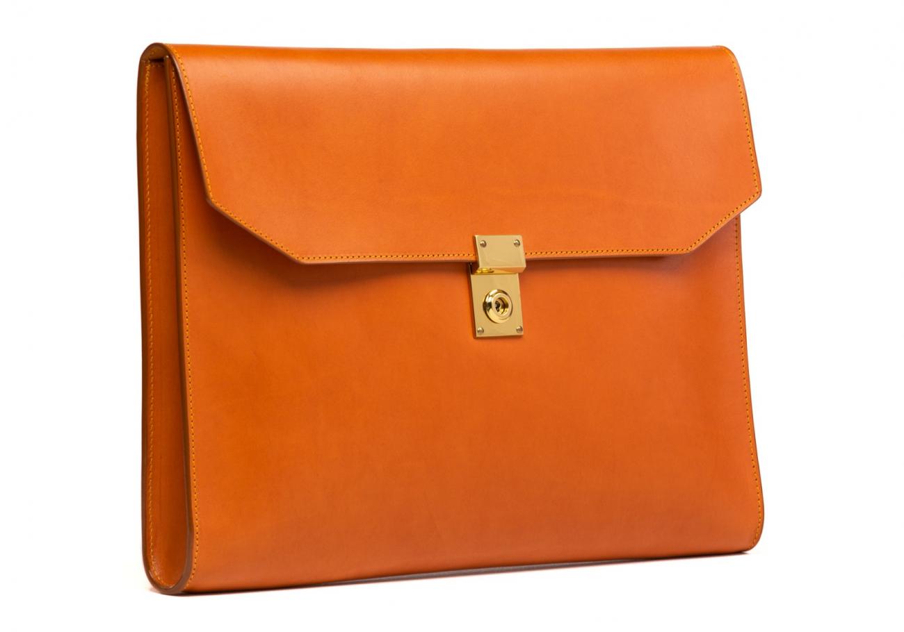 Wrap Around Leather Lock Portfolio Tan1 2