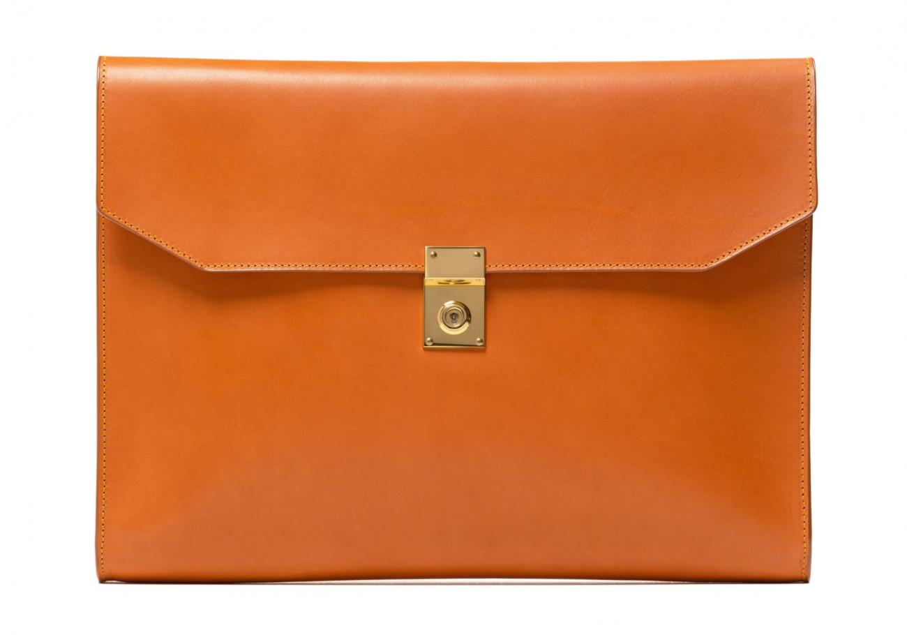 Wrap Around Leather Lock Portfolio Tan3 2