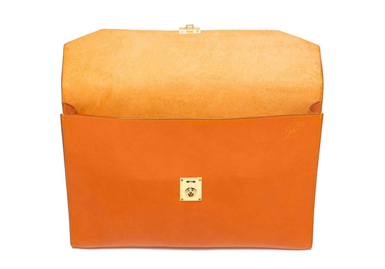 Wrap Around Leather Lock Portfolio Tan4 2