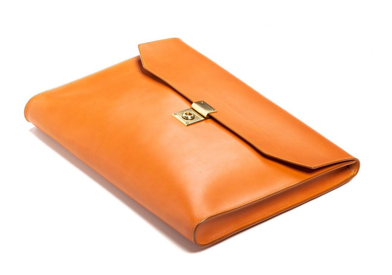 Wrap Around Leather Lock Portfolio Tan6 2