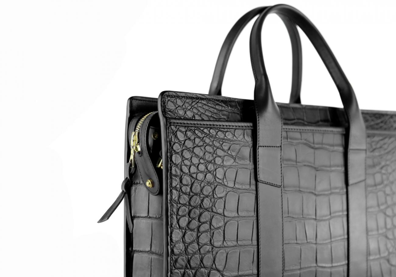 Alligator Briefcase Frank Clegg Zip Top Briefcase Black 10