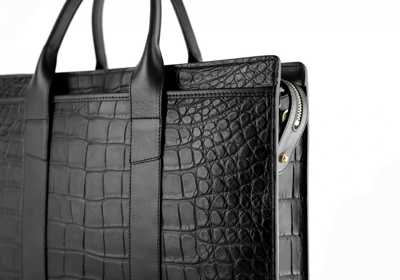 Alligator Briefcase Frank Clegg Zip Top Briefcase Black 11