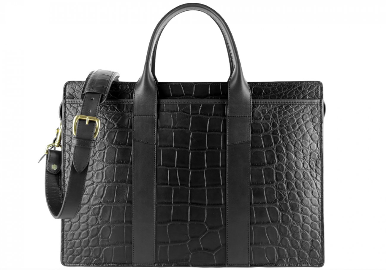 Alligator Briefcase Frank Clegg Zip Top Briefcase Black 3