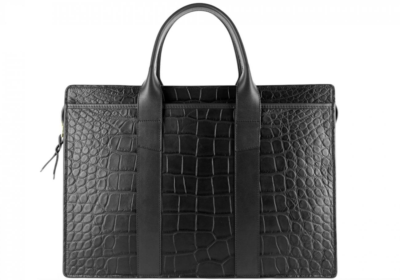 Alligator Briefcase Frank Clegg Zip Top Briefcase Black 4