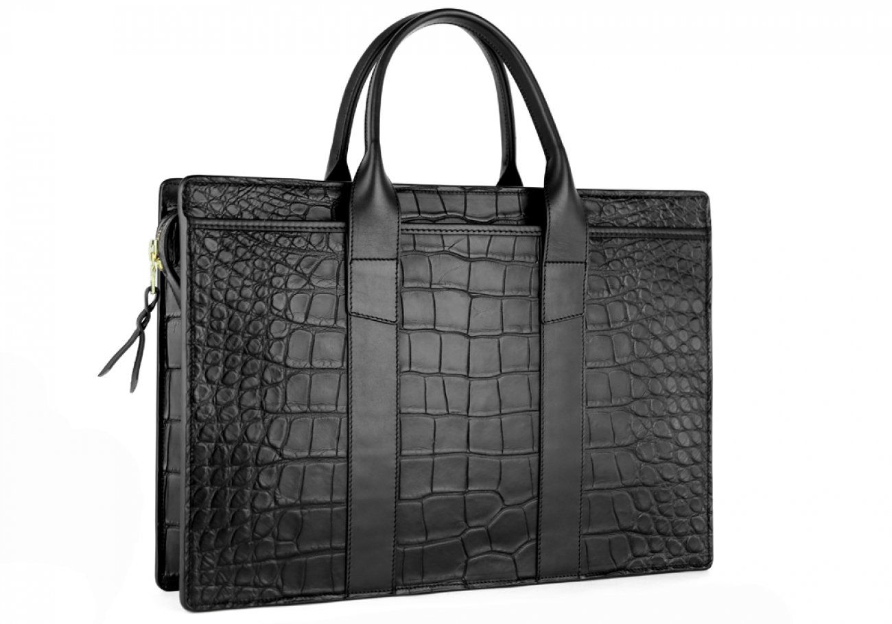 Alligator Briefcase Frank Clegg Zip Top Briefcase Black 5